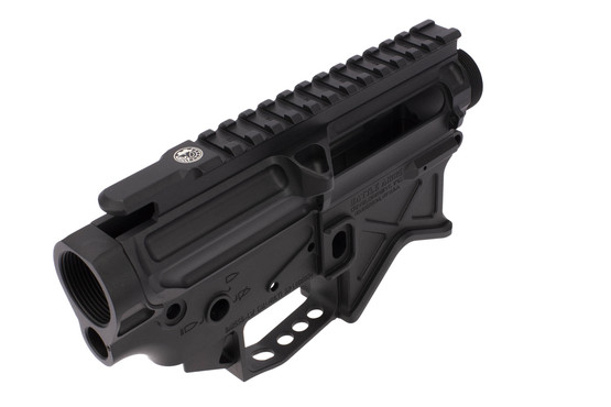 The Battle Arms Development lightweight AR15 upper and lower features a scalloped picatinny top rail