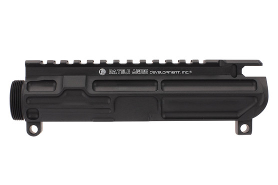 The Battle Arms Development billet upper receiver has multiple cuts to reduce weight