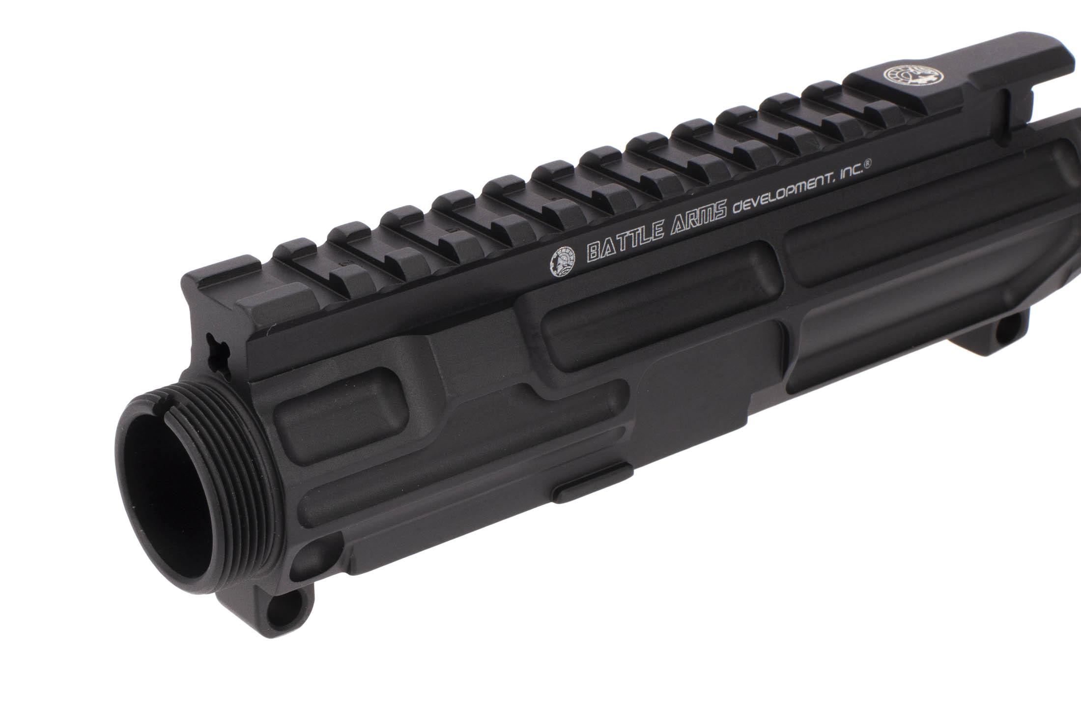 The Battle Arms Development AR15 upper has machined t-marks for adding and removing optics