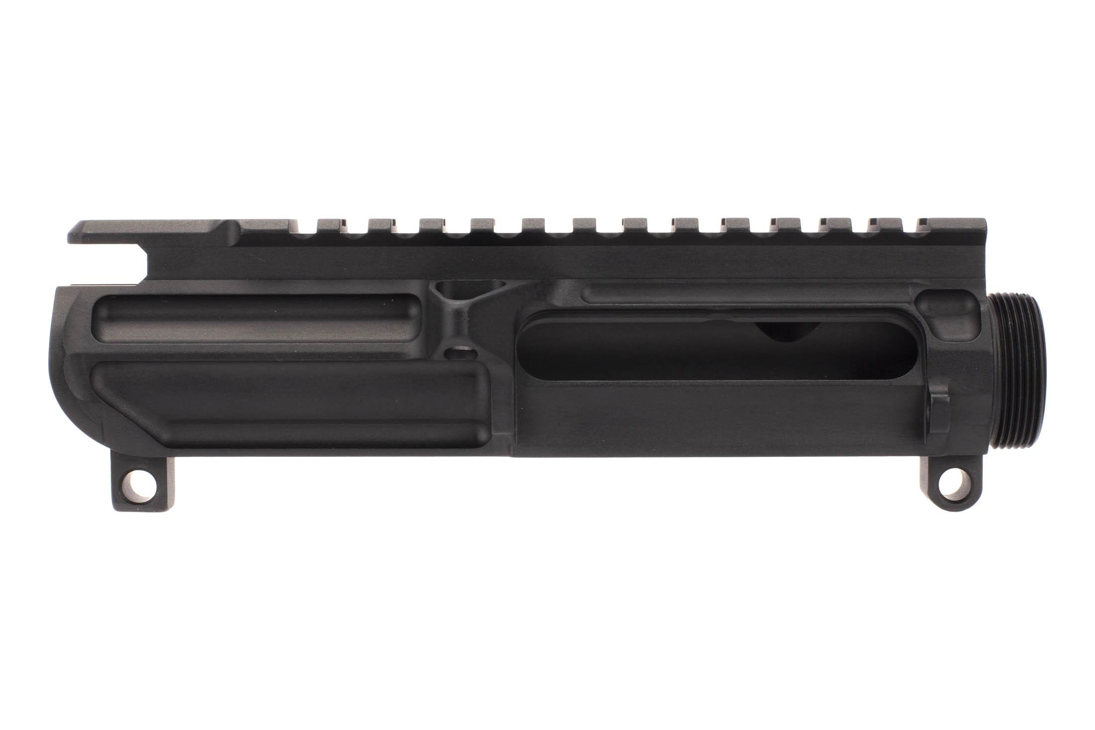 The Battle Arms Development lightweight upper receiver features a Mil-Spec hardcoat anodized black finish