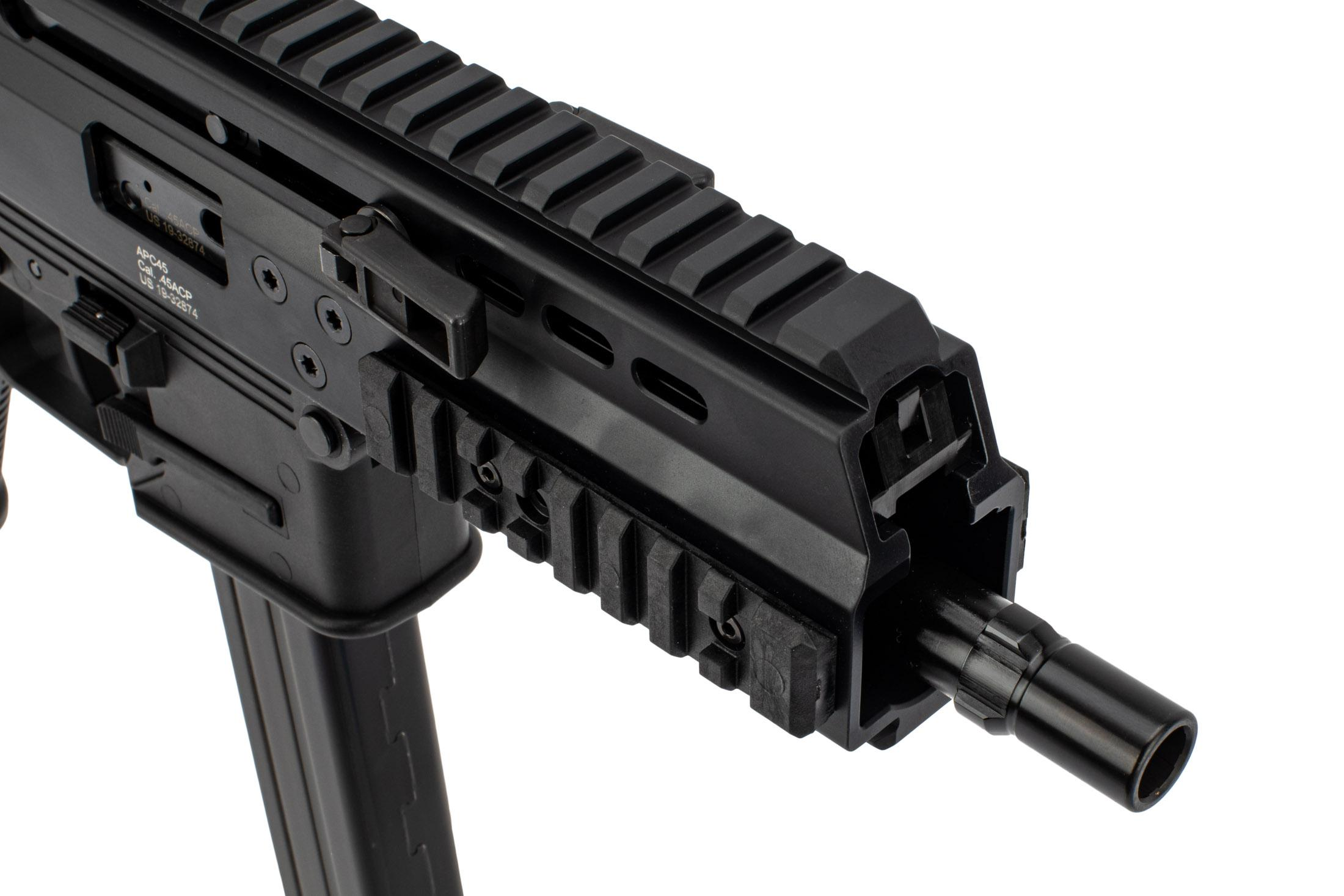 Brugger and Thomet APC-45 Pro Pistol features an ambidextrous non-reciprocating charging handle