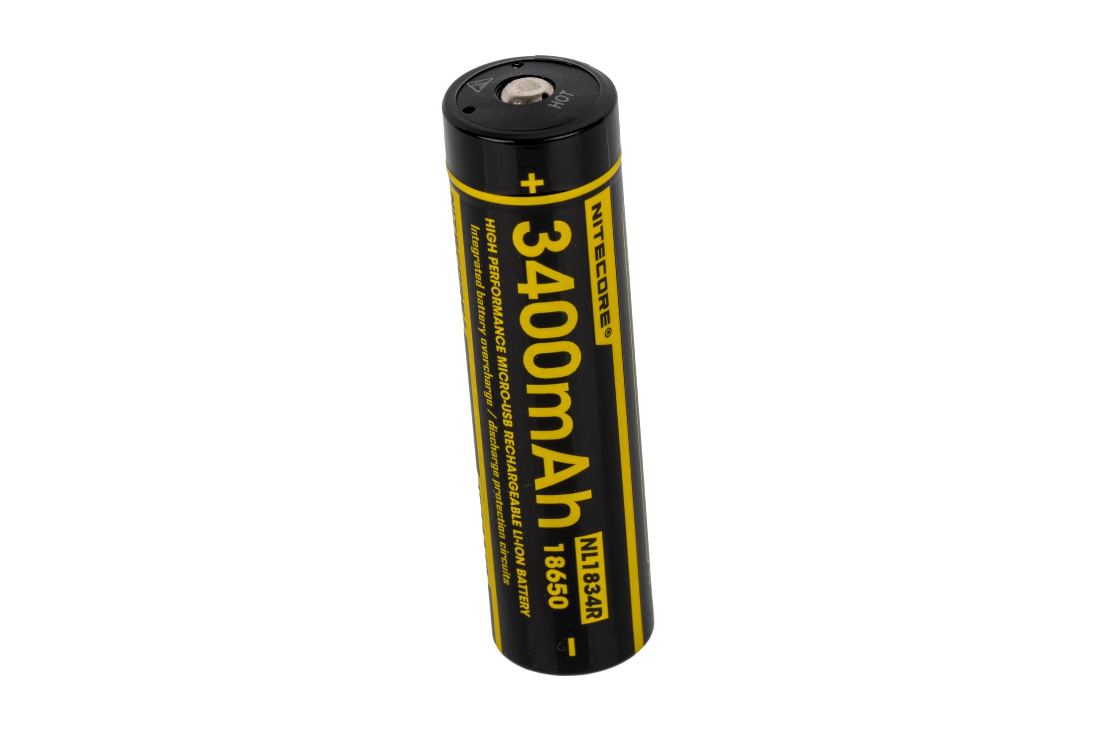 The Nitecore 18650 battery features USB rechargeability and 3400mAh capacity