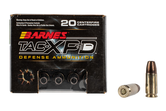Barnes TAC-XPD 9mm Hollow Point ammo is 115 grain and comes in a box of 20