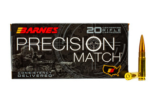 Barnes Precision Match 300 Blackout ammo features a 125 grain open tip boat tail bullet