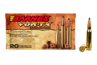 Barnes VOR-TX 308 ammunition features a 130 grain Tipped TSX Boat Tail bullet