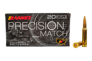 Barnes Precision Match 308 Win ammunition features a 175gr open tip boat tail bullet