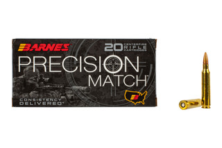 Barnes Precision Match 556 Ammo comes with the 69 grain open tip boat tail bullet