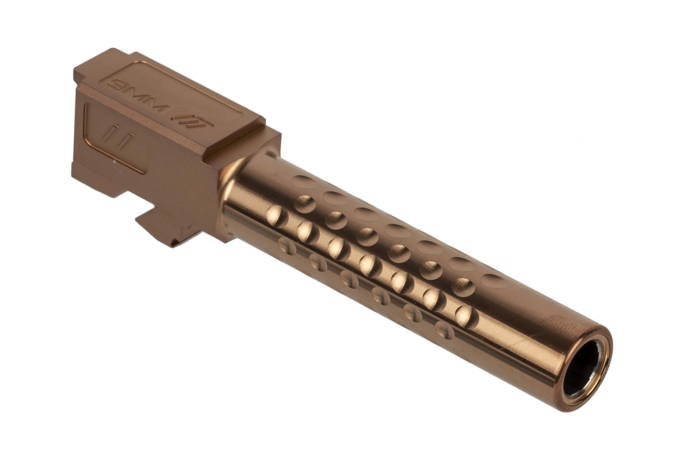 The Zev Technologies Glock 19 dimpled barrel is machined from 416R stainless steel with a burnt bronze finish