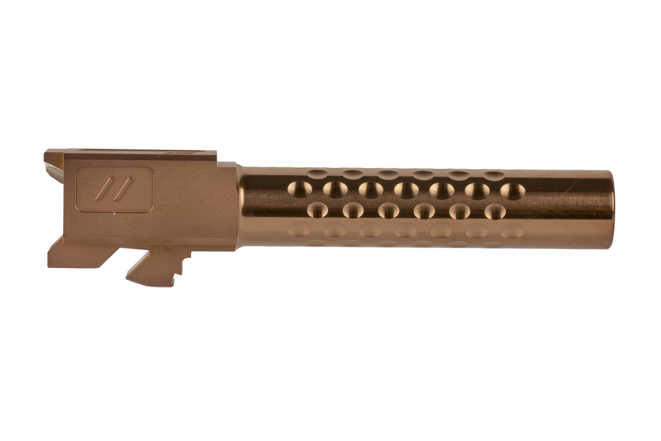 The Zev Tech G19 barrel with dimpled fluting is a drop in design with precise tolerances for a tight fit