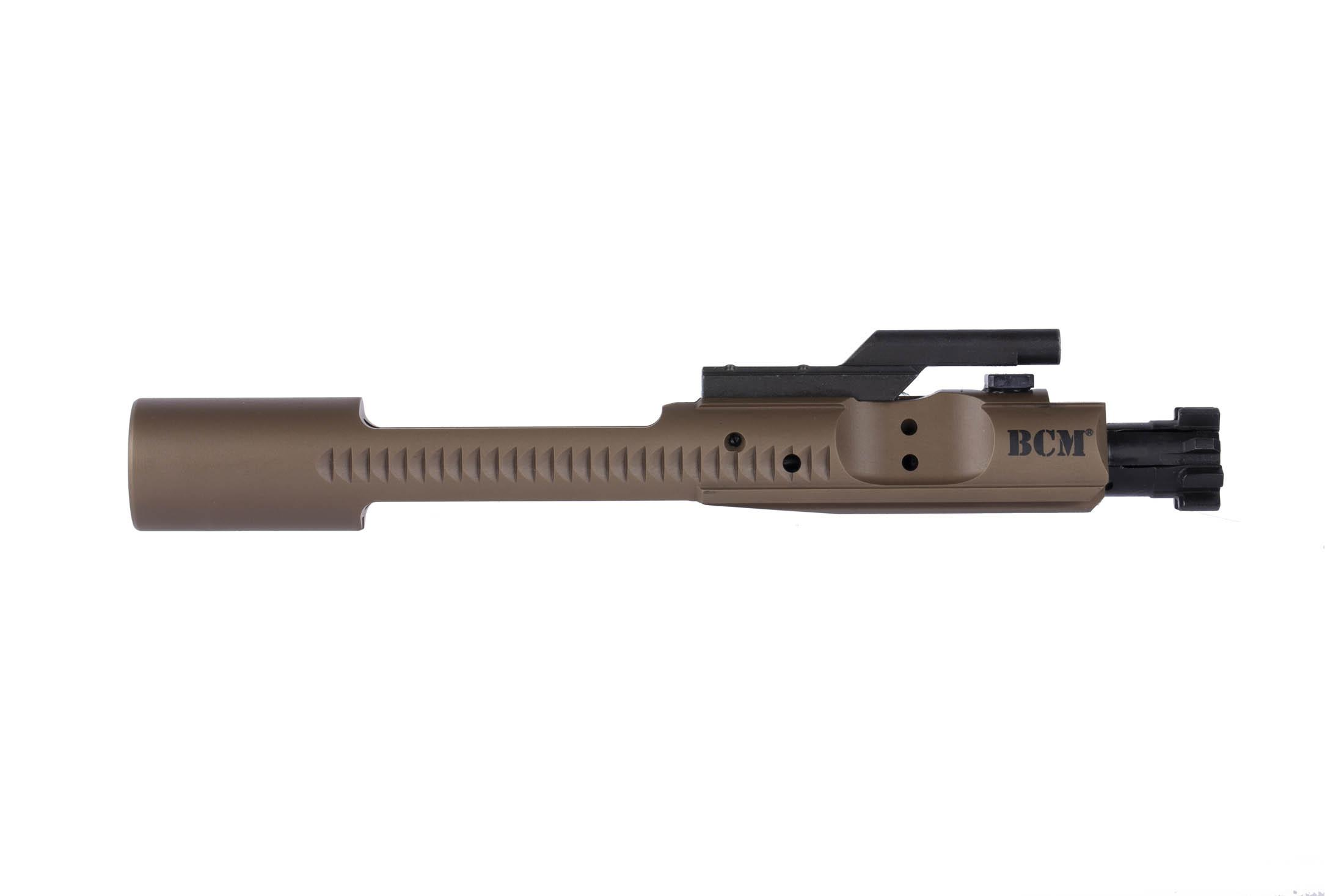 BCM AR-15 bolt carrier group for 5.56 NATO and 300 BLK uses an FDE full mass M16 style carrier with forward assist serrations