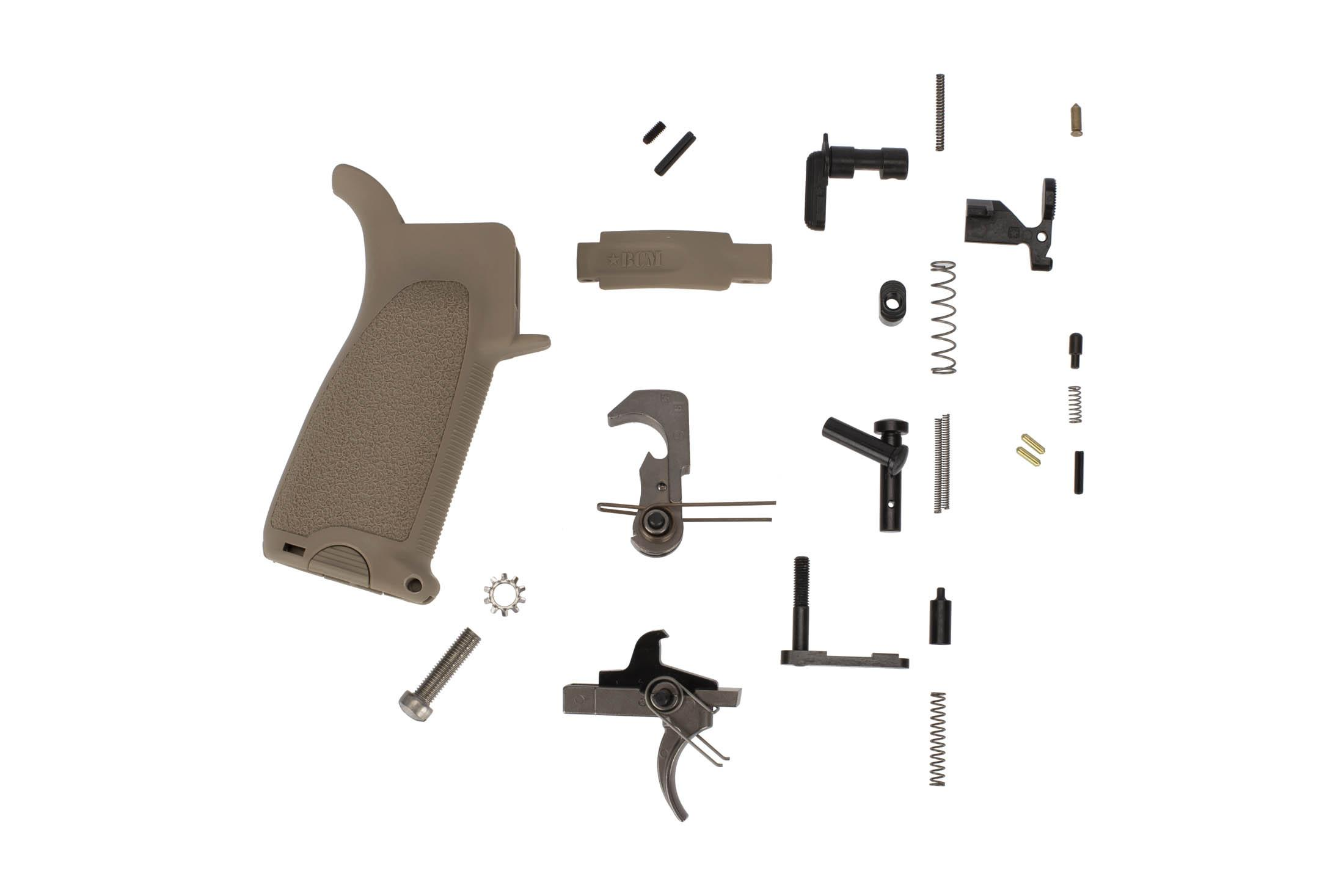 Bravo Company GUNFIGHTER Enhanced AR-15 lower parts kit with FDE BCM grip and trigger guard