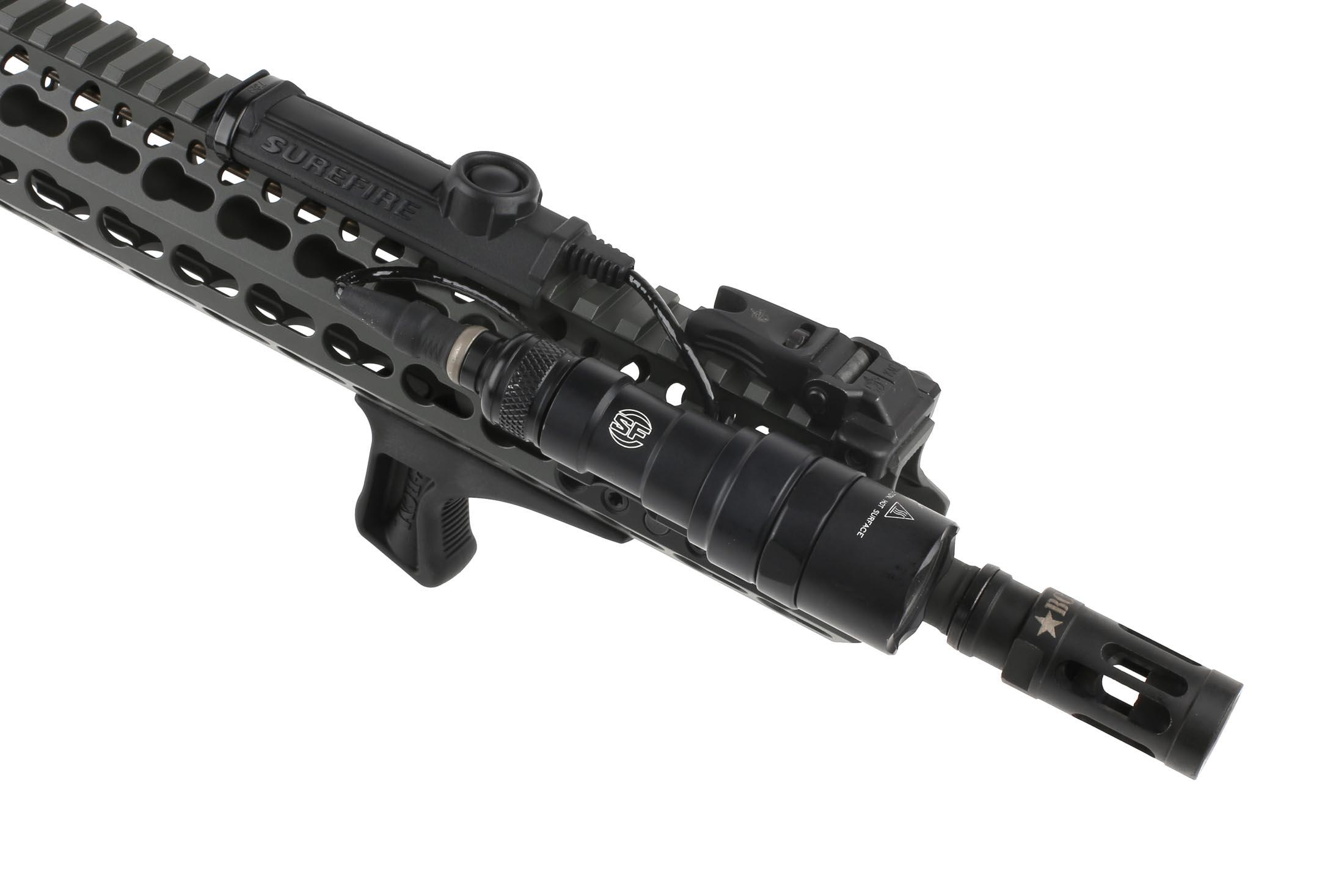 The Bravo Company BCM Gunfighter KeyMod angled Grip attached to an ar15 handguard