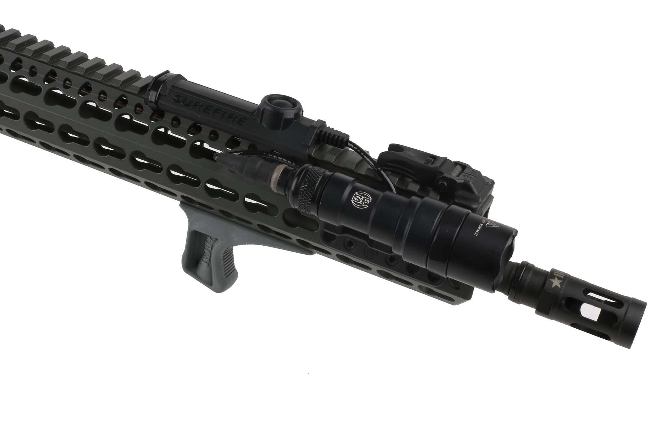 The BCM Gunfighter KAG Keymod angled grip in wolf gray attached to an AR15