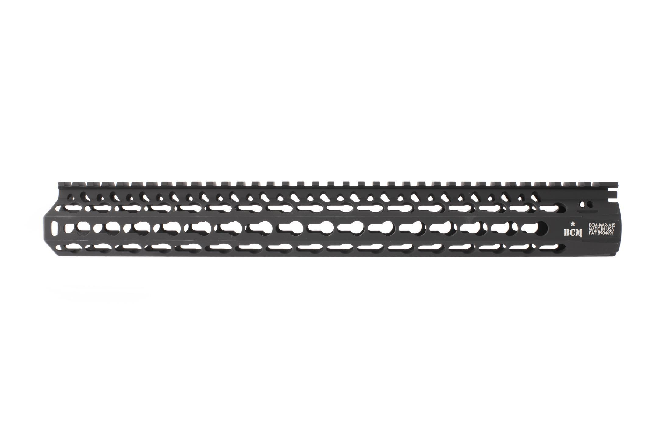 Bravo Company Mfg 15in KMR Alpha rail features a full length M1913 picatinny top rail for lights, lasers, and sights