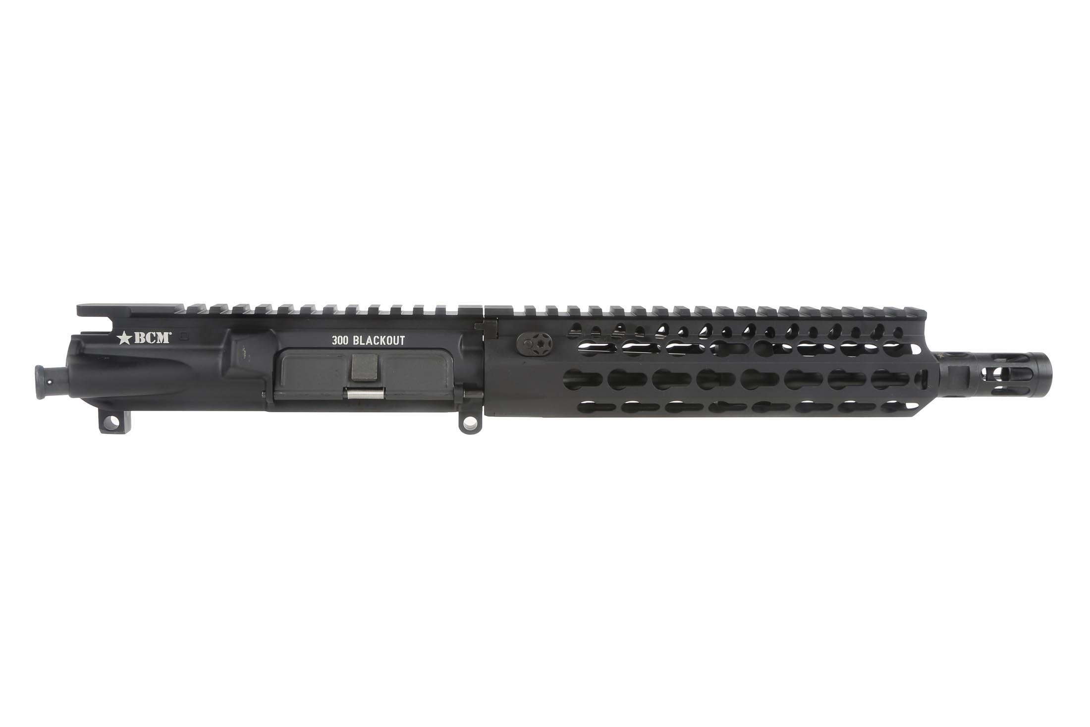 The BCM 300 BLK AR15 barreled upper receiver features the KMR KeyMod Alpha Handguard