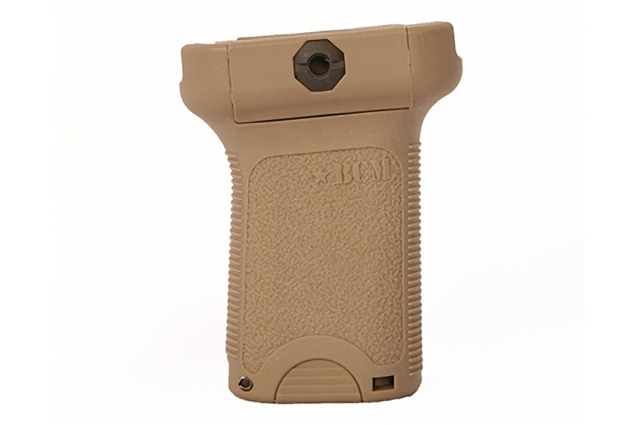 The BCM Gunfighter vertical grip short in FDE polymer is designed for picatinny rails