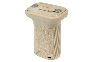 The Bravo Company Manufacturing BCMGunfighter short vertical grip is keymod compatible and has an FDE color