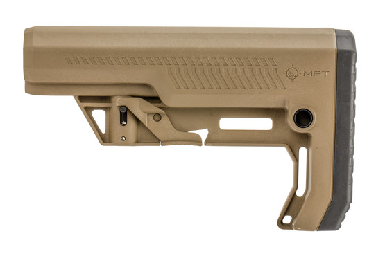 The MFT Extreme Duty Minimalist Stock in flat dark earth features QD sling swivel slots