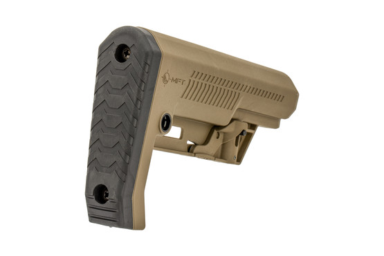 The Mission First Tactical Extreme Duty Minimalist Carbine Stock in FDE features an angled rubber buttpad