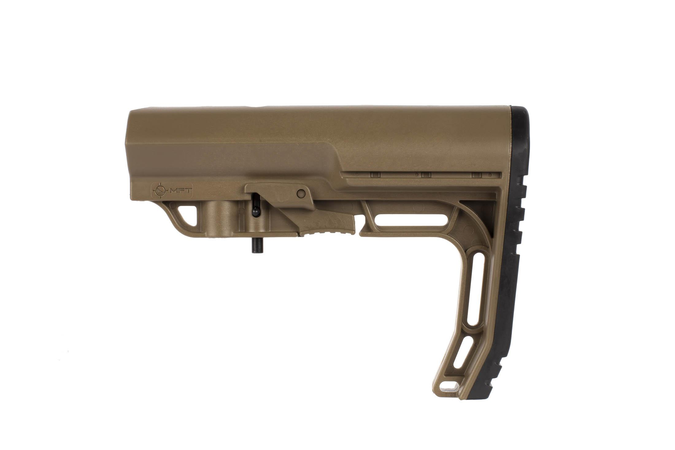 The Mission First Tactical BATTLELINK Minimalist Stock is available in Scorched Dark Earth