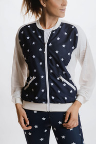 Alexo Freedom Women's Bomber Jacket in blue, front view