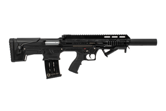 Panzer Arms BP 12 semi auto 12 gauge shotgun features M4 style controls and an angled foregrip