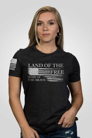 Nine Line Land of The Free Women's Short Sleeve T-Shirt in grey, front view
