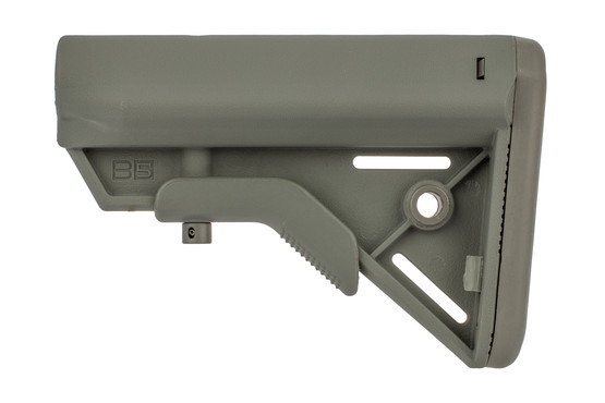 B5 Systems foliage green BRAVO stock is built from high strength polymer with wide cheek weld