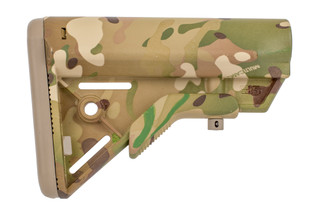 B5 Systems BRAVO MIL-SPEC stock in Multicam is a lightweight, military tough stock with integrated sling attachments.