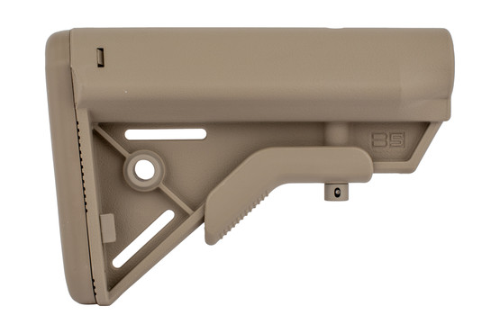 The B5 Systems Sopmod Bravo Milspec stock flat dark earth is extremely durable and lightweight