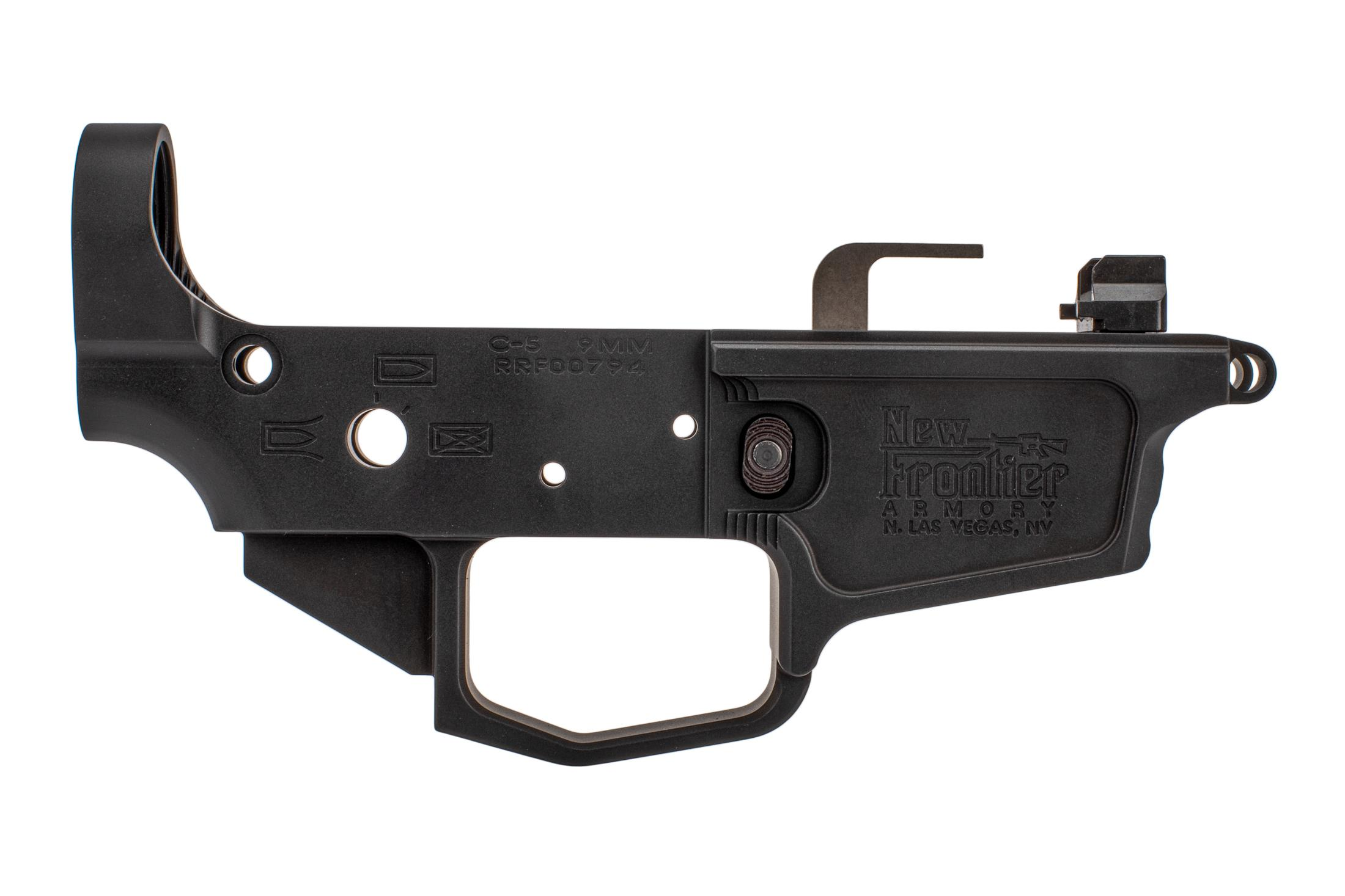 New Frontier Armory 9mm C5 stripped lower features ejector, feed ramp, and magazine release pre-installed.