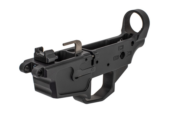 New Frontier C5 stripped AR lower compatible with MP5 magazines features a threaded bolt catch pin