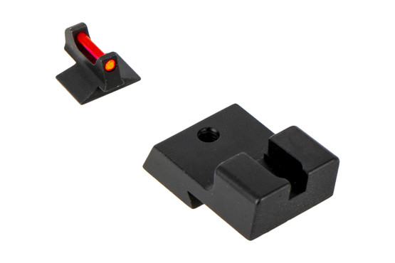 Trijicon's Fiber Sight Set for Novak low cut 1911s is a high-contrast competition and carry sight set with ambient lit front sight