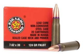 Century Arms Red Army Standard 7.6x39 ammunition features a 124 grain full metal jacket boat tail bullet
