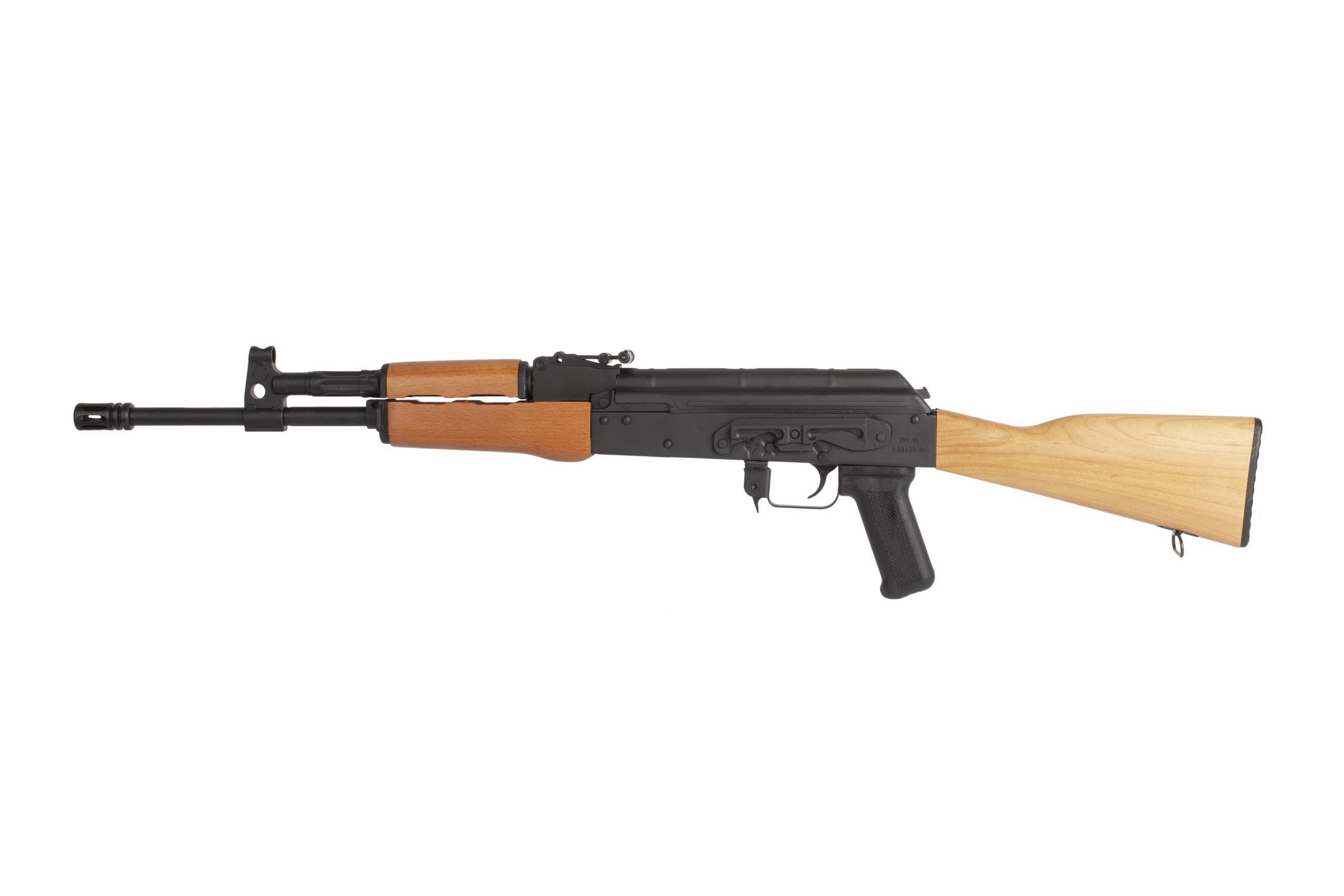 The RH 10 Century Arms AK has a side scope mount and hooded front sight