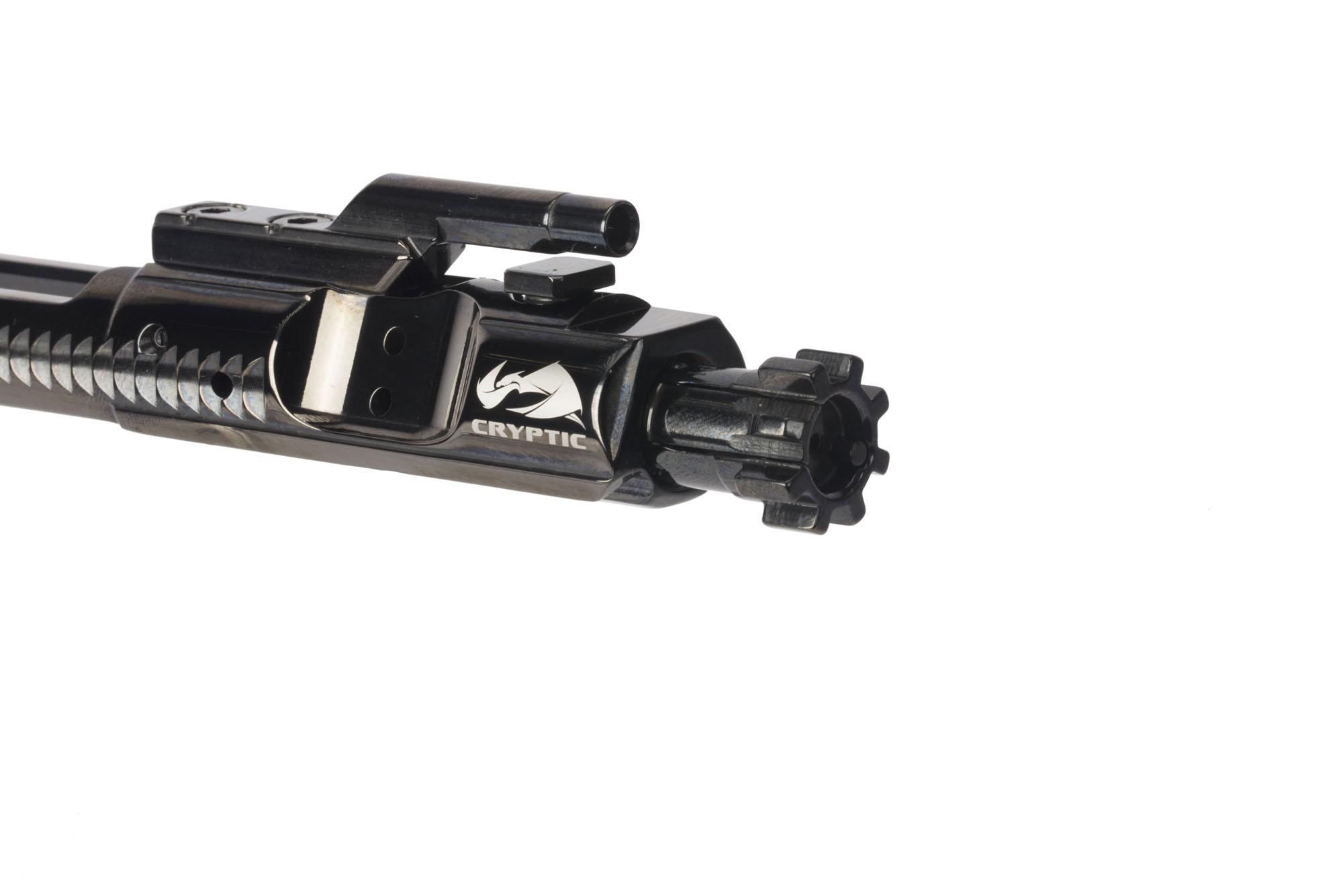 Cryptic Coatings Mystic Black AR-15 bolt carrier group uses a standard 5.56 NATO magnetic particle inspected bolt assembly