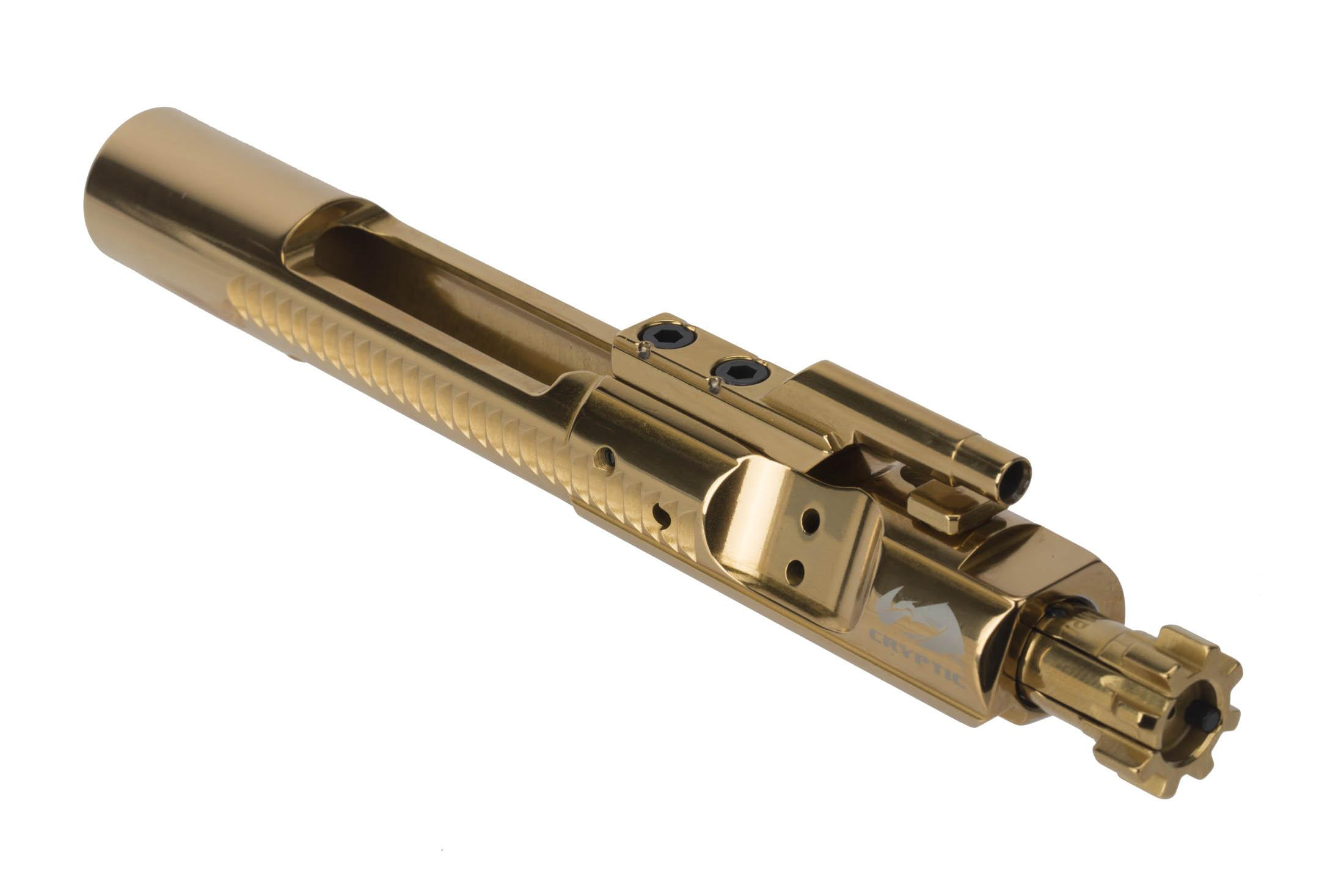 Cryptic Coatings Mystic Gold AR-15 bolt carrier group uses a standard 5.56 NATO magnetic particle inspected bolt assembly