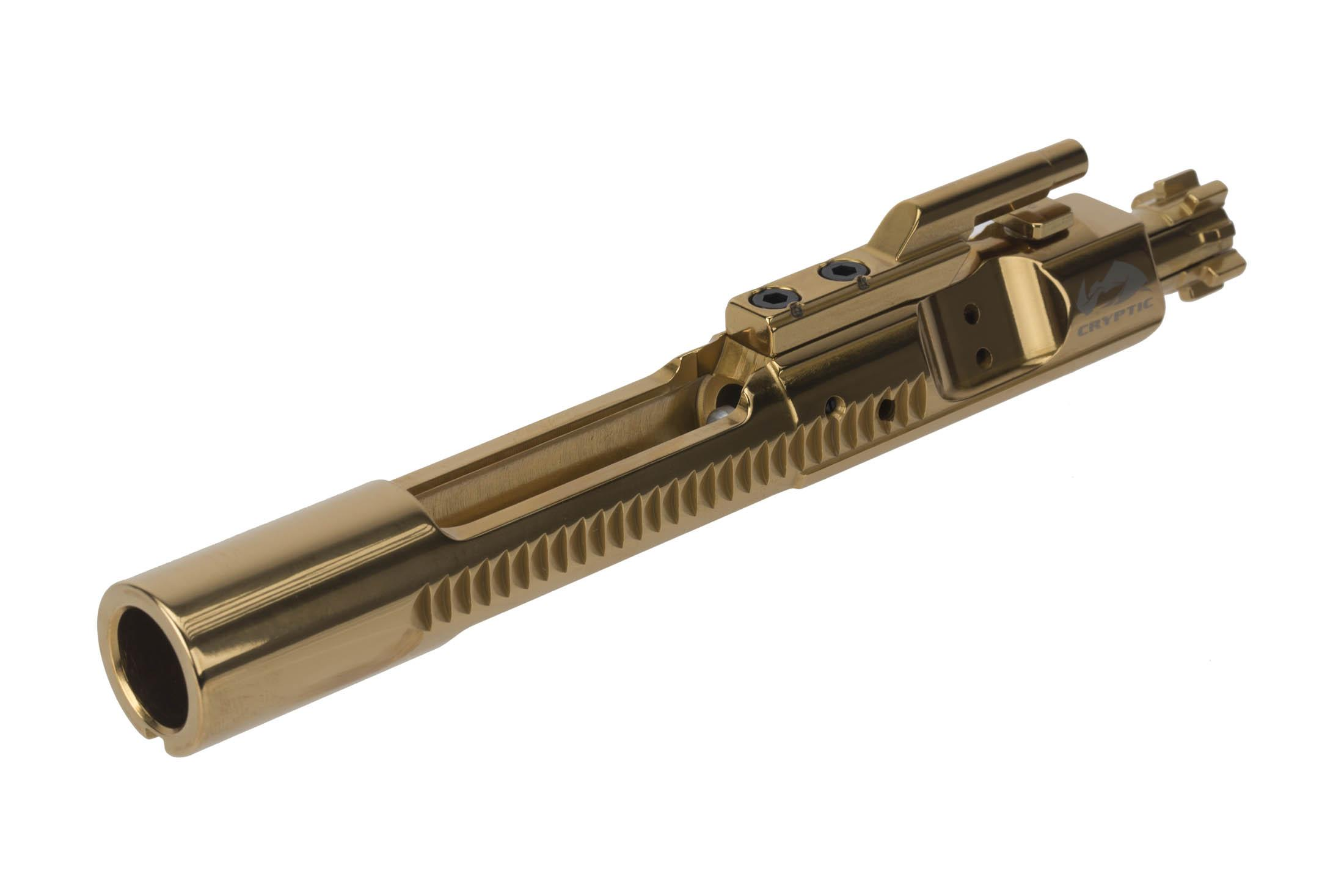 Cryptic Coatings AR-15 bolt carrier group for 5.56 NATO with Mystic Gold finish features a full M16 profile tail