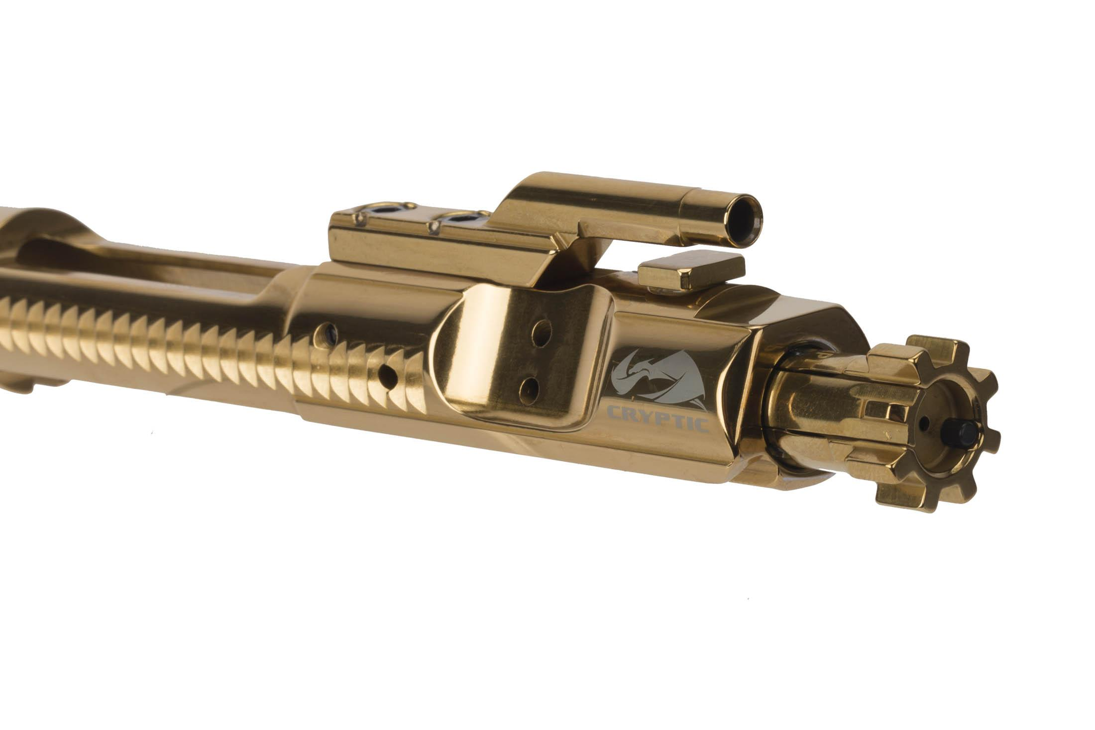Cryptic Coatings 5.56 NATO AR-15 bcg with Mystic Gold finish has fully MIL-SPEC construction