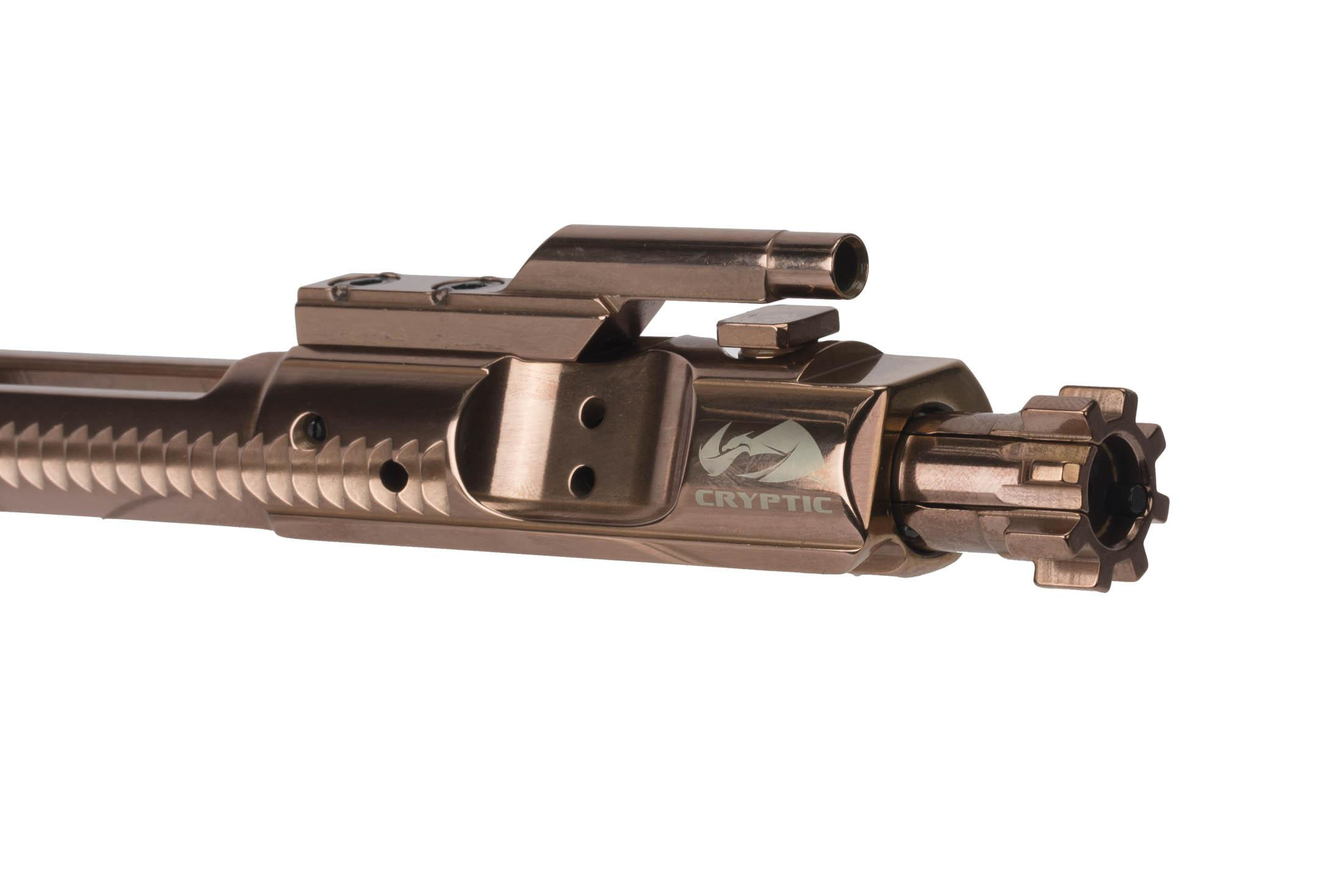Cryptic Coatings 5.56 NATO AR-15 bcg with Mystic Bronze finish has fully MIL-SPEC construction