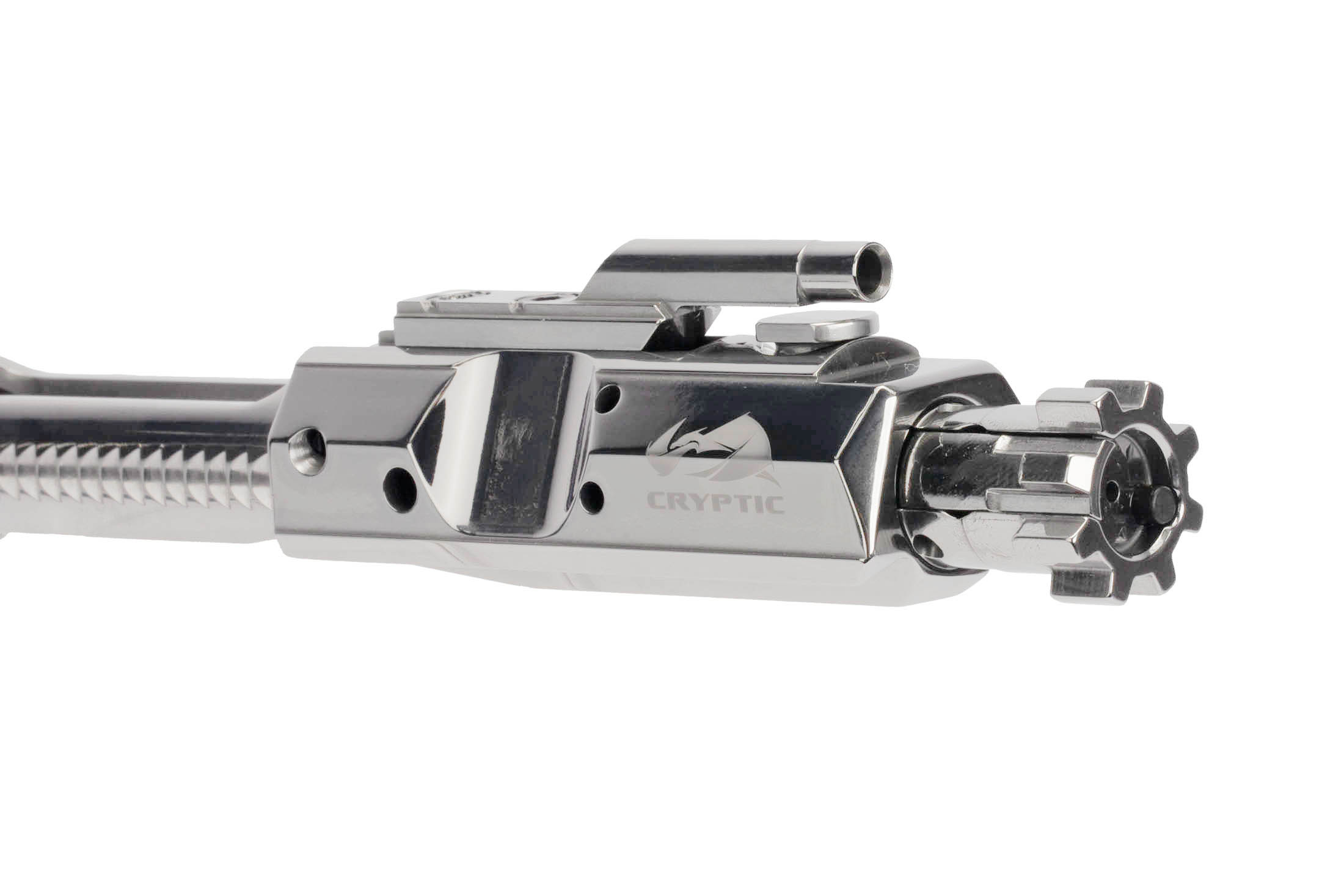 Cryptic Coatings Mystic Silver AR 308 bolt carrier group uses a standard .308 Win magnetic particle inspected bolt assembly