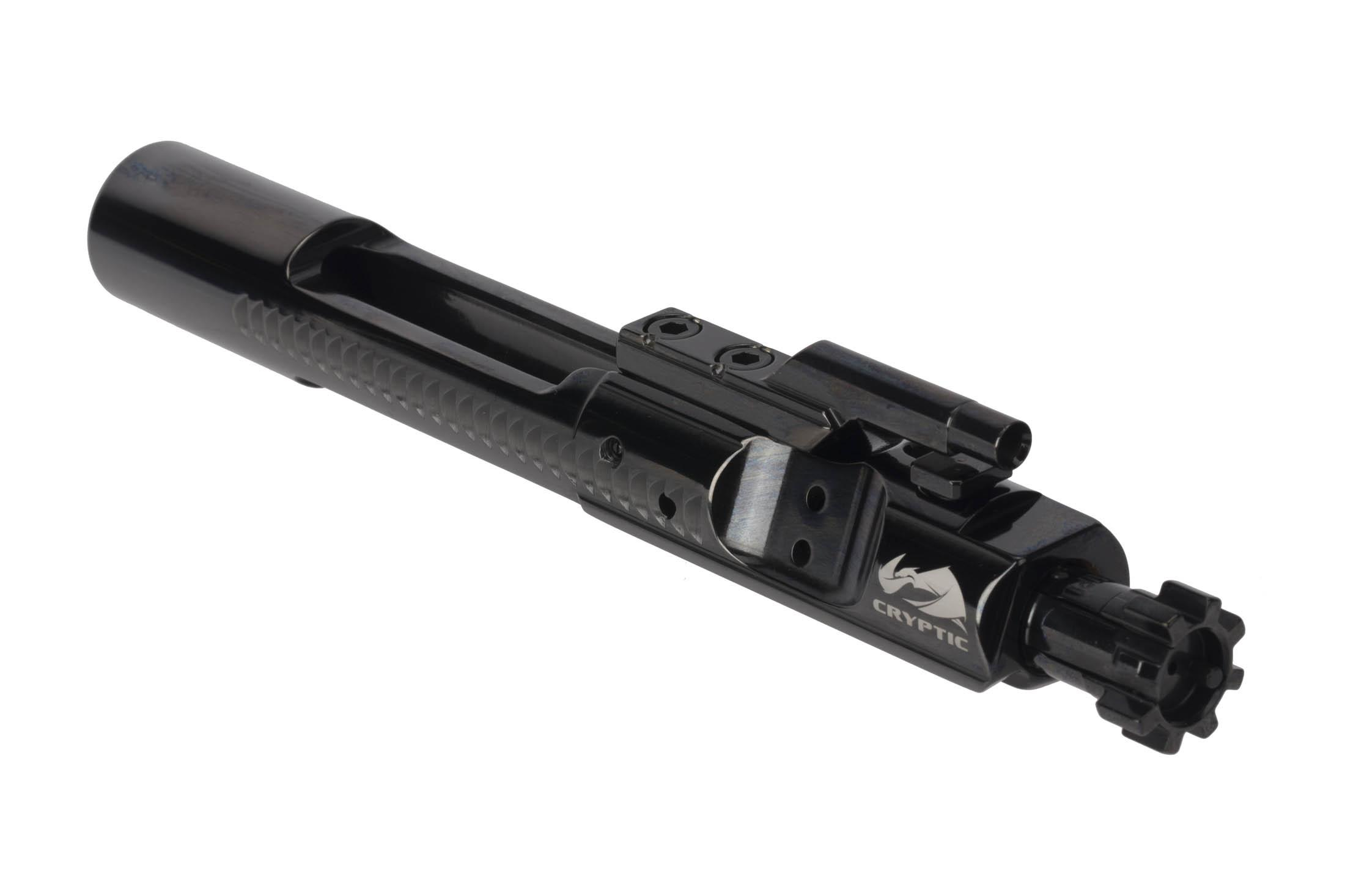 Cryptic Coatings Mystic Black AR-15 bolt carrier group uses a standard 6.8SPC magnetic particle inspected bolt assembly