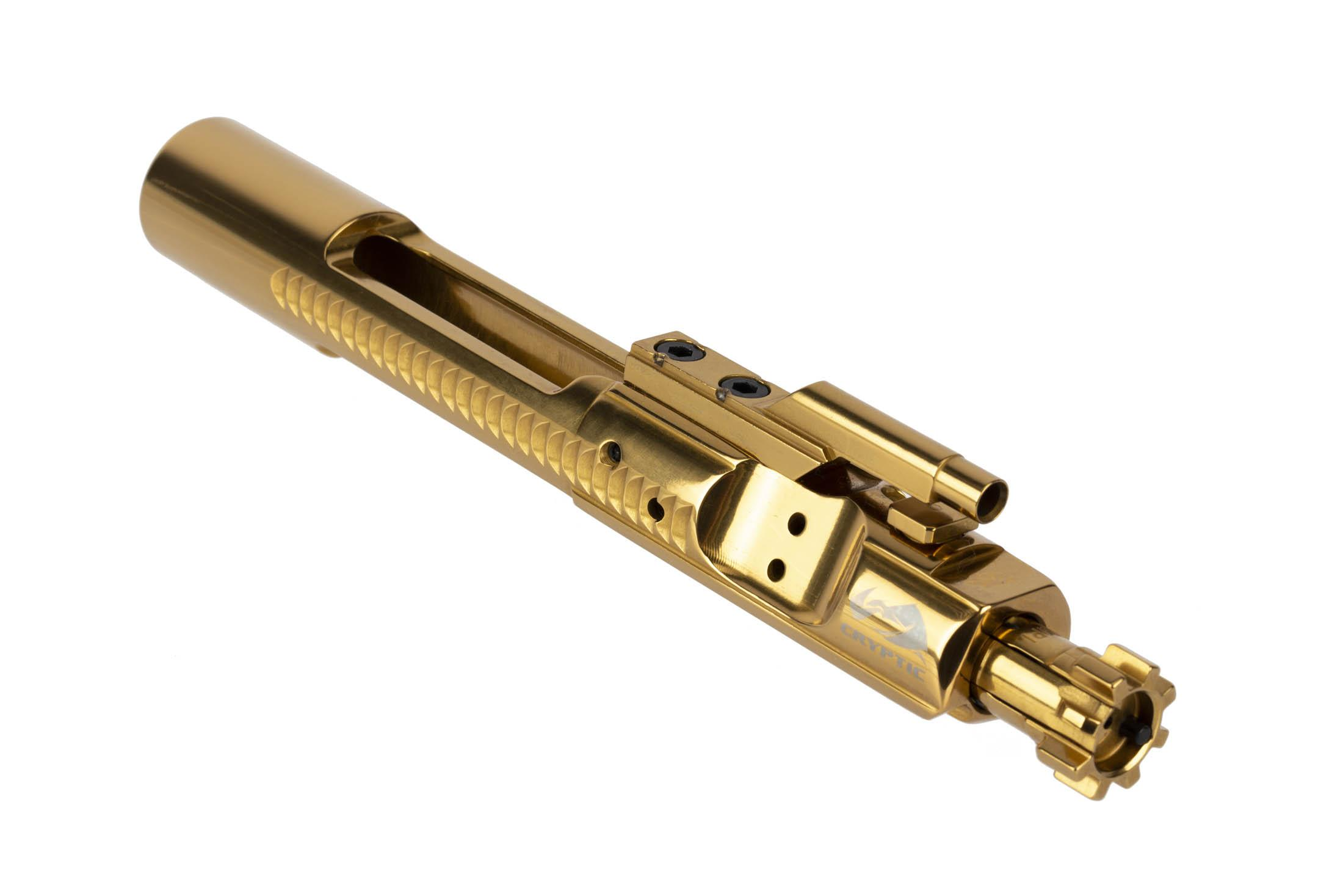 Cryptic Coatings Mystic Gold AR-15 bolt carrier group for 6.8 SPC has an ultra-slick 0.45 coefficient of friction