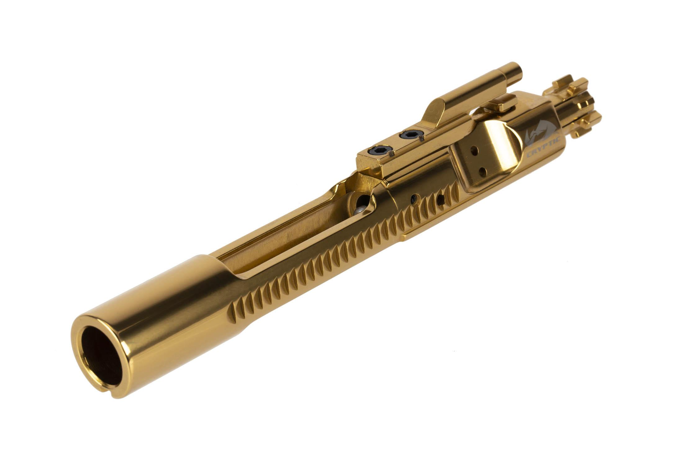 Cryptic Coatings AR-15 bolt carrier group for 6.8 SPC with Mystic Gold finish features a full M16 profile tail