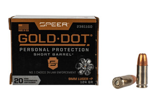 Speer Gold Dot 9mm +P 124 grain hollow point ammo features a nickel plated brass case
