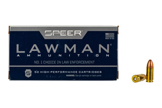 Speer Lawman 9mm training ammo features a 115 grain total metal jacket bullet