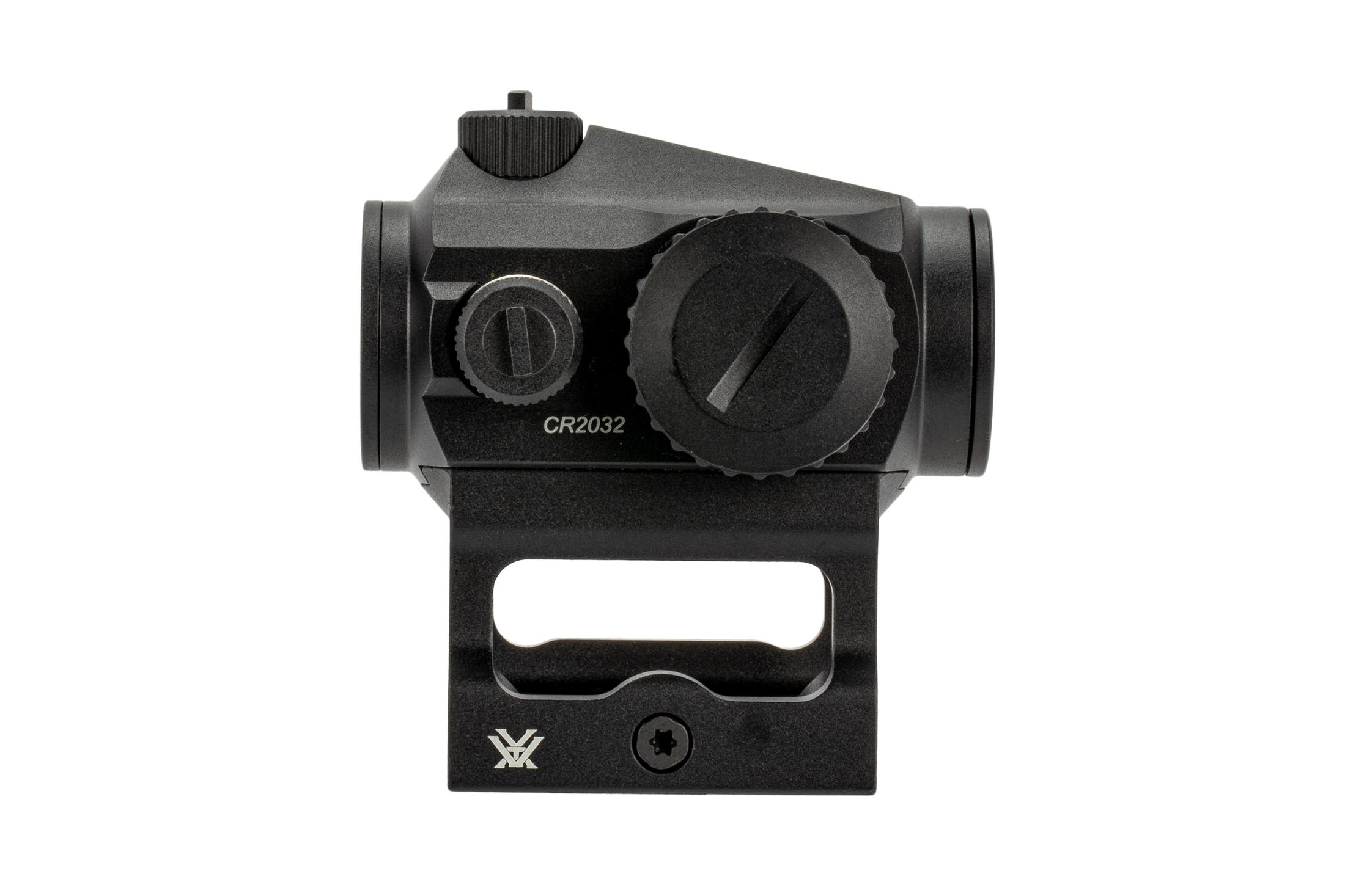 Vortex Optics Crossfire 2 micro red dot with AR-15 mount and right side controls.