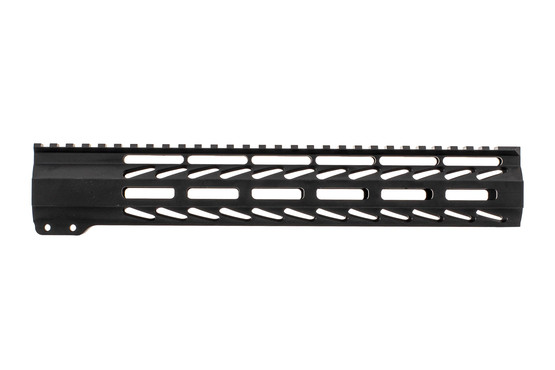 "Ghost Firearms free float logoless AR 15 M-LOK rail features a tough black anodized finish and full length 12"" top rail."