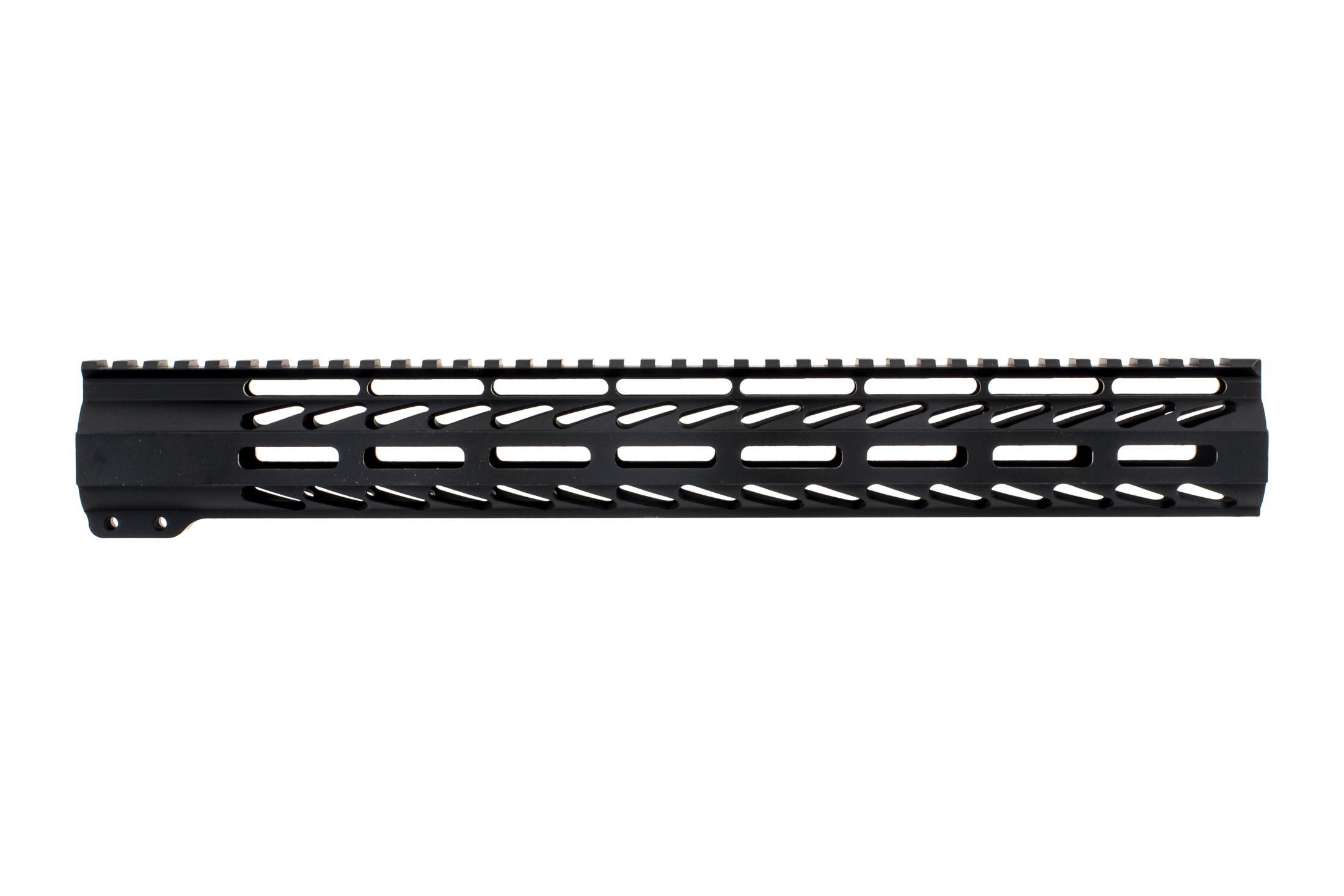 Ghost Firearms free float logoless AR 15 M-LOK rail features a tough black anodized finish and full length 15 top rail.