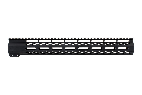 "Ghost Firearms free float logoless AR 15 M-LOK rail features a tough black anodized finish and full length 15"" top rail."